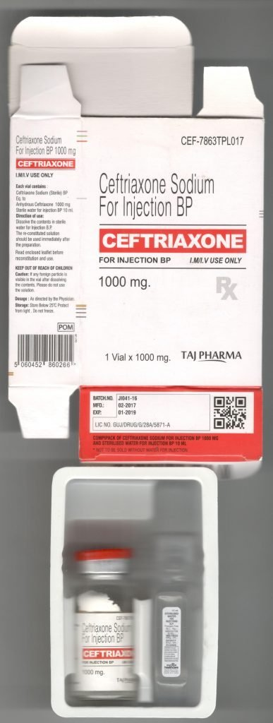Ceftriaxone 1g Powder for solution for injection