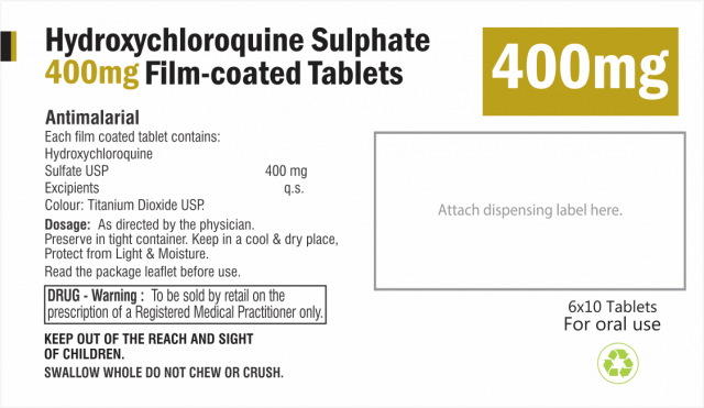 Hydroxychloroquine Sulphate 400mg Tablets