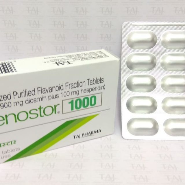 Micronized Purified Flavonoid Fracrtion Tablets (MPFF, 900 mg Diosmin plus 100 mg Hesperidine) Venostor-1000 mg Taj Pharma