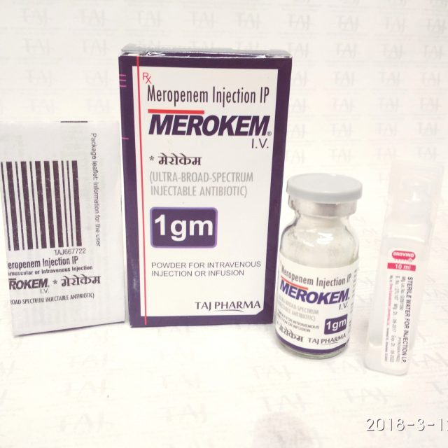 Meropenem Injection IP 500mg (MEROKEM) Taj Pharma