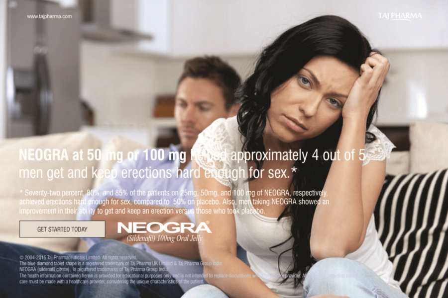 Neogra (sildenafil) relaxes muscles and increases blood flow to particular areas of the body.